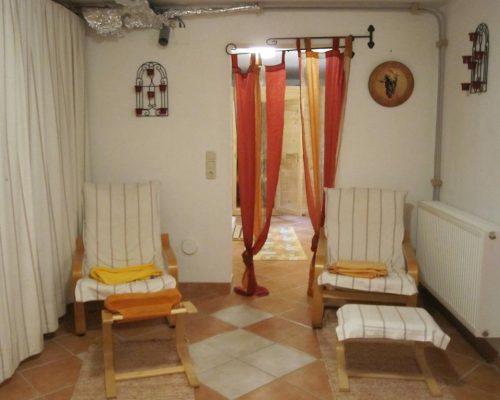Entspannungsbereich bei Sauna